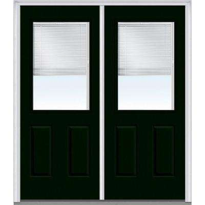 60 in. x 80 in. Internal Blinds Right-Hand 1/2 Lite 2-Panel Classic Painted Steel Prehung Front Door