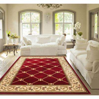 Timeless Fleur De Lis Red 7 ft. x 9 ft. Traditional Classical Area Rug