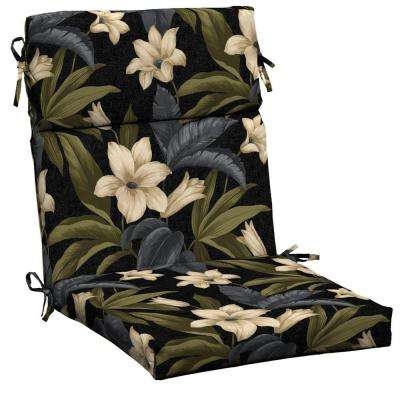 Black Tropical Blossom Outdoor Dining Chair Cushion