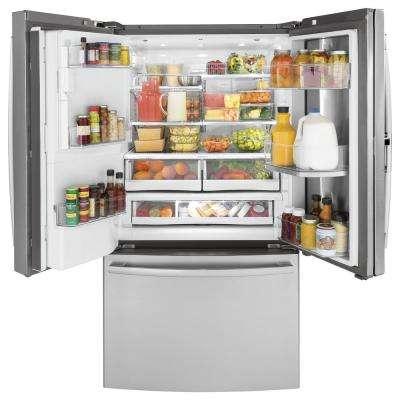 Profile 36 in. W 22.2 cu. ft. French Door Refrigerator with Door-in-Door in Stainless Steel, Counter Depth