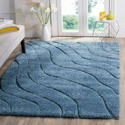 Florida Shag Light Blue/Blue 3 ft. 3 in. x 5 ft. 3 in. Area Rug