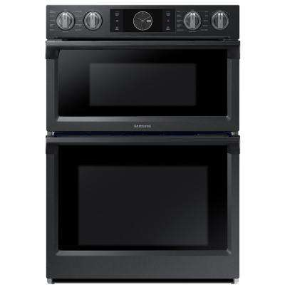 30 in. Electric Dual Convection and Steam Cook Flex Duo Wall Oven with Built-In Microwave in Black Stainless Steel