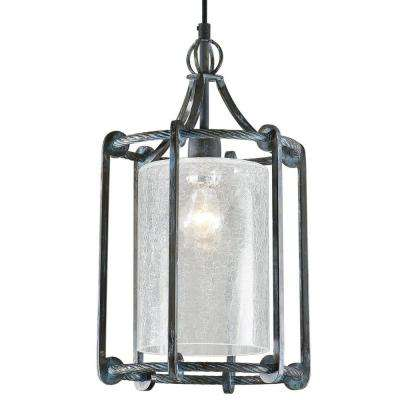 1-Light Turquoise Washed Rust Black Lantern with Crackled Glass