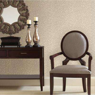 Emperor Taupe Scroll Print Wallpaper