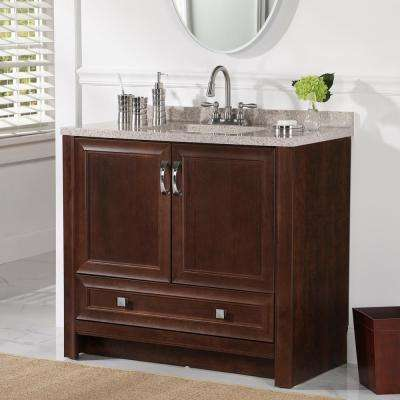 Candlesby 36 in. W x 19 in. D Bathroom Vanity in Cognac with Solid Surface Vanity Top in Autumn with White Sink