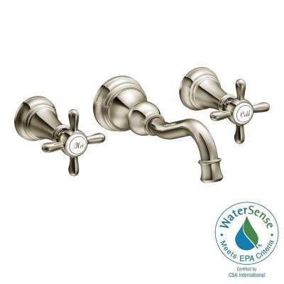 Weymouth 2-Handle Wall Mount High-Arc Bathroom Faucet in Nickel (Valve Sold Separately)