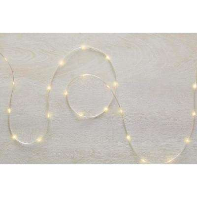 26 ft. 100-Light LED Warm White Battery Operated Micro Dot Rope Light