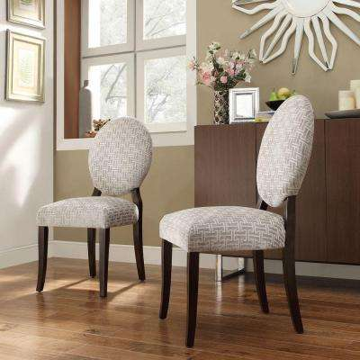 Easley Round Back Fabric Side Chair in Grey Link (Set of 2)