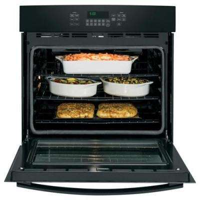 30 in. 5.0 cu. ft. Single Electric Wall Oven Self-Cleaning with Steam in Black