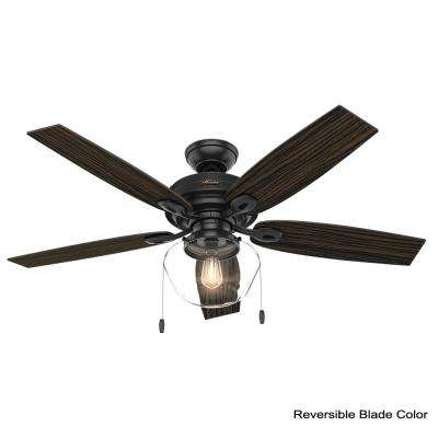 Crown Canyon 52 in. LED Indoor/Outdoor Matte Black Ceiling Fan with Light Kit