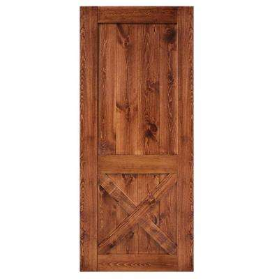 36 in. x 84 in. 2-Panel Barn Solid Core Finished Pine Interior Door Slab
