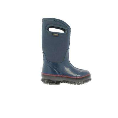 Classic High Handles Kids 10 in. Size 12 Navy Rubber with Neoprene Waterproof Boots
