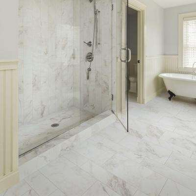 VitaElegante Bianco 3 in. x 12 in. Glazed Porcelain Bullnose Floor and Wall Tile (0.26 sq. ft. / piece)