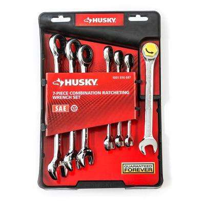SAE Combo Ratcheting Wrench Set (7-Piece)
