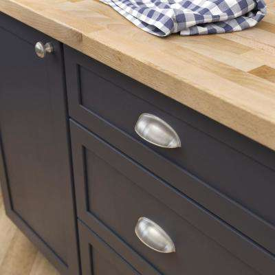 2-1/2 or 3 in. (64 or 76mm) Center-to-Center Satin Nickel Dual Mount Cup Drawer Pull (6-Pack)