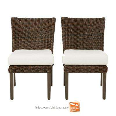 Mill Valley Pair Fully Woven Armless Patio Side Chairs with Cushion Insert (Slipcovers Sold Separately)