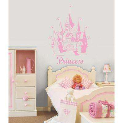 26 in. x 37.5 in. Pink Castle Wall Decal