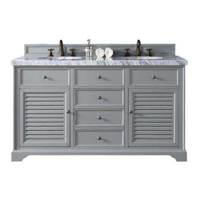 Savannah 60 in. W Double Vanity in Urban Gray with Marble Vanity Top in Carrara White with White Basin