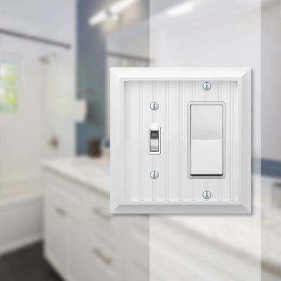 Cottage 2 Gang 1-Toggle and 1-Rocker Composite Wall Plate - White