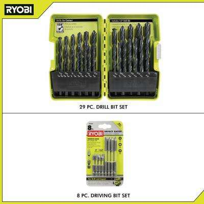Black Oxide Index Drill Bit Set (29-Piece) w/ BONUS (8-Piece) Impact Rated Driving Kit