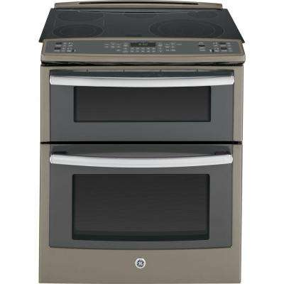 6.6 cu. ft. Slide-In Double Oven Electric Range with Convection (Lower Oven) in Slate