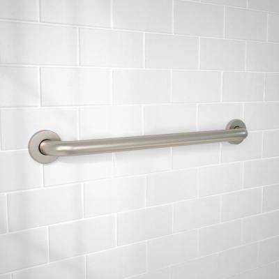 24 in. x 1-1/4 in. Concealed Screw ADA Compliant Grab Bar in Brushed Stainless Steel