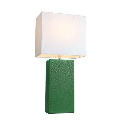 Monaco Avenue 21 in. Modern Green Leather Table Lamp with White Fabric Shade