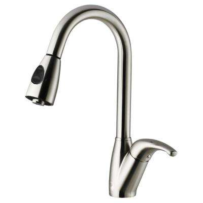 Single-Handle Pull-Out Sprayer Kitchen Faucet in Stainless Steel