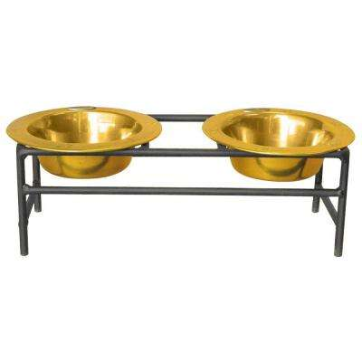 1 Cup Wrought Iron Modern Diner Puppy Stand with Extra Wide Rimmed Bowls in Gold