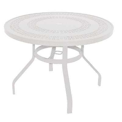 Marco Island 42 in. White Round Commercial Aluminum Patio Dining Table