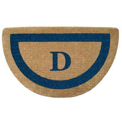 Single Picture Frame Tan/Blue 22 in. x 36 in. Half Round Heavy Duty Coir Monogrammed D Door Mat