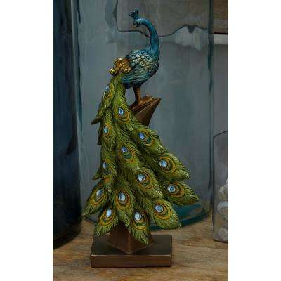 13 in. Peacock Decorative Figurine in Textured Turquoise, Gold, and Emerald Green