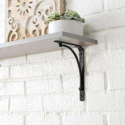 6 in. x 8 in. Black Classic Arch Decorative Shelf Bracket