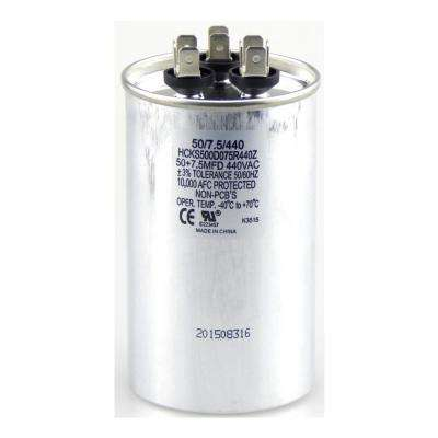 440-Volt 50/7.5 MFD Dual Rated Motor Run Round Capacitor