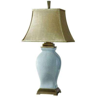 33 in. Crackled Sky Blue Table Lamp