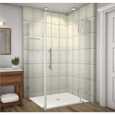 Avalux GS 48 in. x 38 in. x 72 in. Completely Frameless Shower Enclosure with Glass Shelves in Chrome