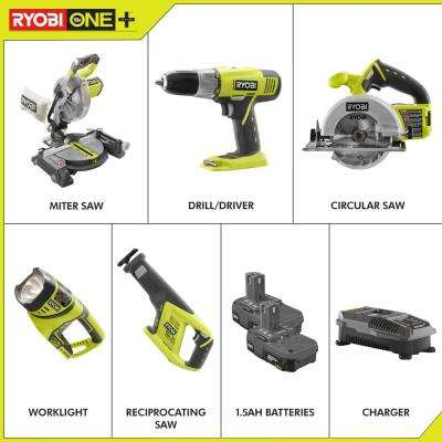 18-Volt ONE+ Lithium-Ion Cordless 5-Tool Combo Kit with (2) 1.5 Ah Batteries and (1) 18-Volt Dual Chemistry Charger