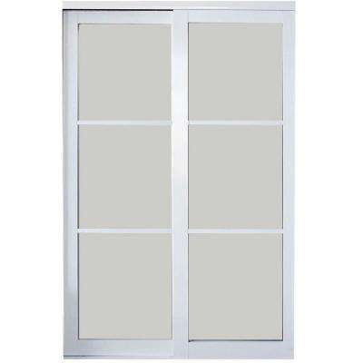 Eclipse 3-Lite Mystique Glass Finish Aluminum Interior Sliding Door