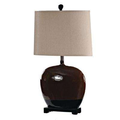 31 in. Frosted Almond and Black Ceramic Table Lamp-DISCONTINUED