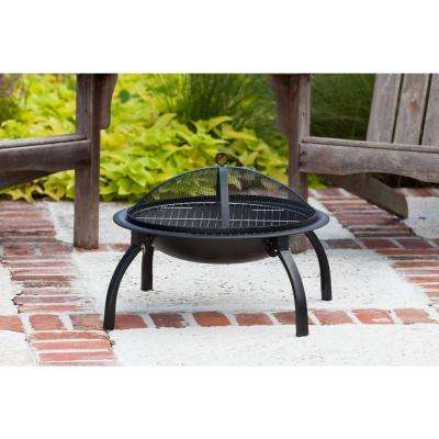 22 in. Round Steel Fire Pit in Black with Folding Legs