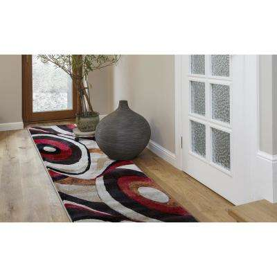 Tribeca Brown/Red 2 ft. x 18 ft. Indoor Runner Rug