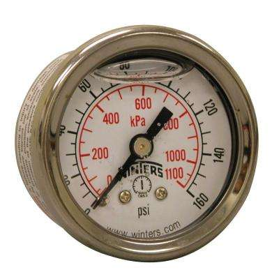 PFQ Series 1.5 in. Stainless Steel Liquid Filled Case Pressure Gauge with 1/8 in. NPT CBM and Range of 0-160 psi/kPa