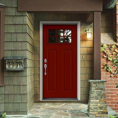 32 in. x 80 in. 6 Lite Craftsman Mesa Red w/ White Interior Steel Prehung Right-Hand Inswing Front Door