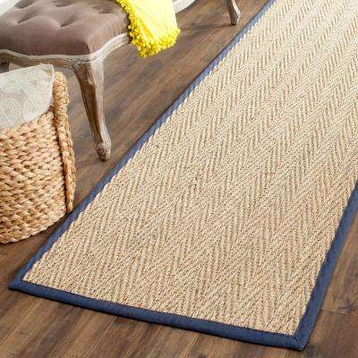 Natural Fiber Beige/Blue 3 ft. x 16 ft. Runner Rug