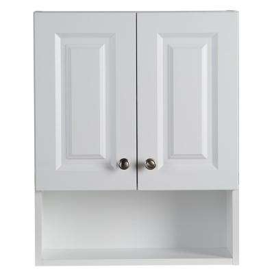 Lancaster 20-1/2 in. W x 25-3/5 in. H x 7-7/10 in. D Over the Toilet Storage Wall Cabinet in White
