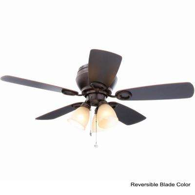 Whitlock 44 in. LED Indoor Mediterranean Bronze Ceiling Fan with Light Kit