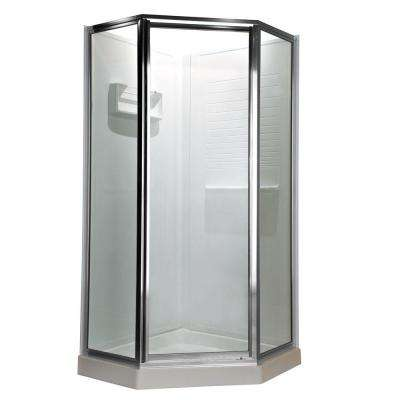 Prestige 24.25 in. x 68.5 in. Neo-Angle Shower Door in Silver and Clear Glass