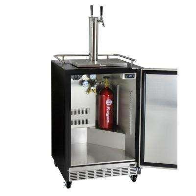 Digital Commercial Undercounter Full Size Beer Keg Dispenser with Dual Tap Commercial Direct Draw Kit Left Hinge