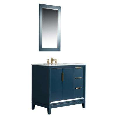 36 in. Single Sink Bath Vanity in  Carrara White Marble Vanity Top in Monarch Blue w/ F2-0013-06-FX Lavatory Faucet