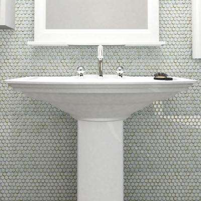 Hudson Penny Round Silk White 12 in. x 12-5/8 in. x 5 mm Porcelain Mosaic Tile